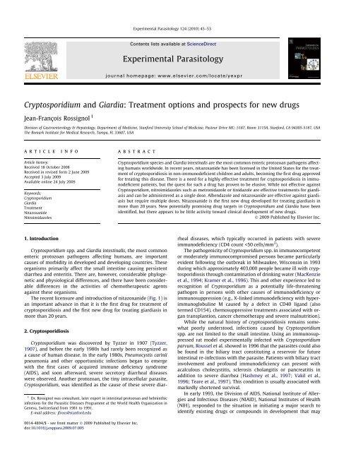cryptosporidium and giardia treatment